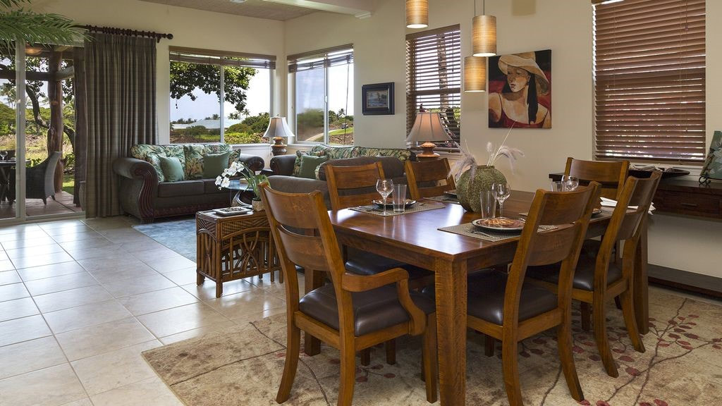 Dining room with view of a Mauna Lani Resort home, on behalf of April Lee of Kohala Real Estate and 2nd Home Services LLC